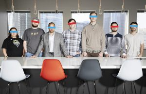 Group portrait of advertising agency team downtown Dallas Texas